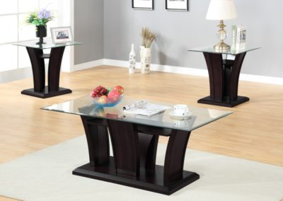 3 PC Set Brown Coffee Table Glass Top-Surrey_Furniture_WareHouse