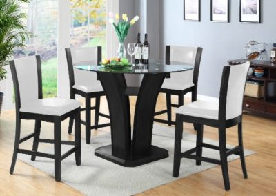 5 PC Dining Table Glass Top counter Height