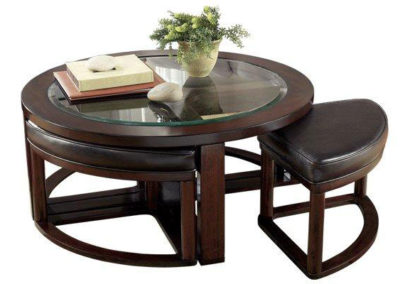 5 pc Brown Coffee Table Glass Top-Surrey_Furniture_WareHouse
