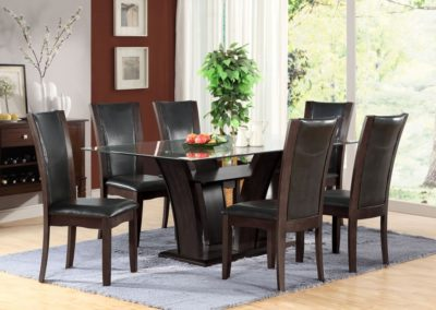 7 Pc Brown Dining Table Glass Top Leather-Surrey_Furniture_WareHouse