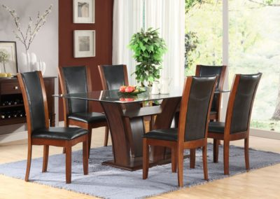 7 Pc Dining Table Glass Top-Surrey_Furniture_WareHouse