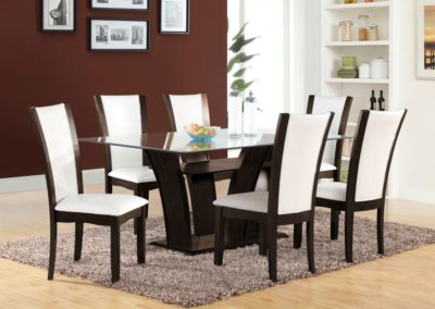 7 Pc Dining Table Glass Top white color-Surrey_Furniture_WareHouse