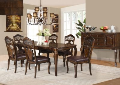 8 PC dining table with chairs and side table