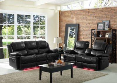 Black Color Leather Recliner Sofa Set-Surrey_Furniture_WareHouse