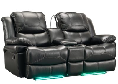 Black Color Leather love seat Recliner-Surrey_Furniture_WareHouse